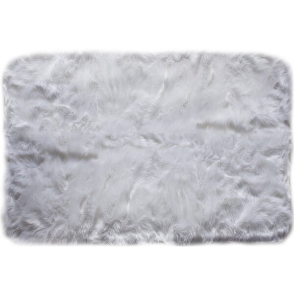 Charlotte Hand-Woven Faux Sheepskin Ivory Area Rug by House of Hampton
