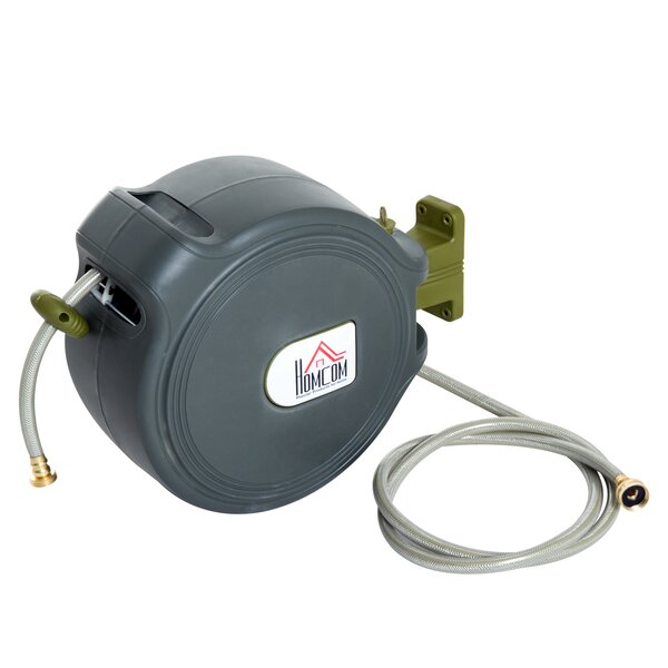 Plastic Hose Reel with Automatic Rewind by HomCom