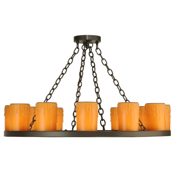 Congo 12 - Light Unique/Statement Wagon Wheel Chandelier by Foundry Select Foundry Select