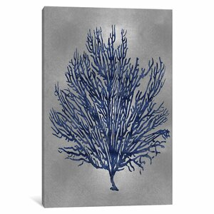 'Sea Life Series: Blue on Silver V' Graphic Art Print on Canvas by East Urban Home