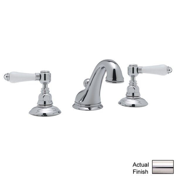 ROHL® Viaggio® C-Spout Widespread Lavatory Faucet with White Porcelain Lever Handles