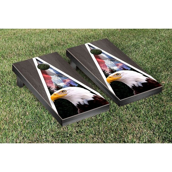 American Eagle USA Onyx Stained Triangle Mountain Version Cornhole Game Set by Victory Tailgate