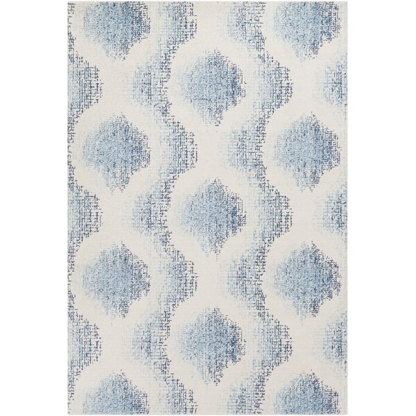 Chaim Modern Ikat Wool Aqua Area Rug by Corrigan Studio