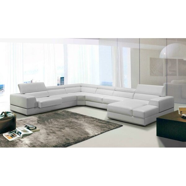Coalpit Right Hand Facing Heath Leather Reclining Sectional by Orren Ellis