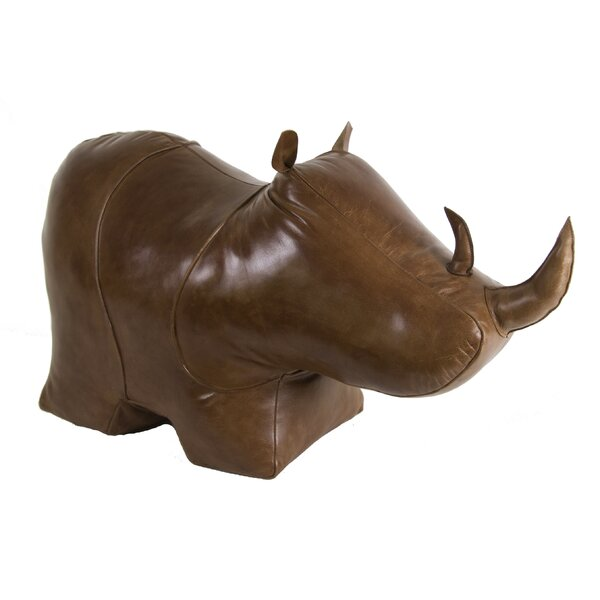 Granville Rhino Leather Standard Ottoman by World Menagerie