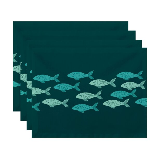 Golden Lakes Fish Line Coastal Placemat (Set of 4) by Beachcrest Home