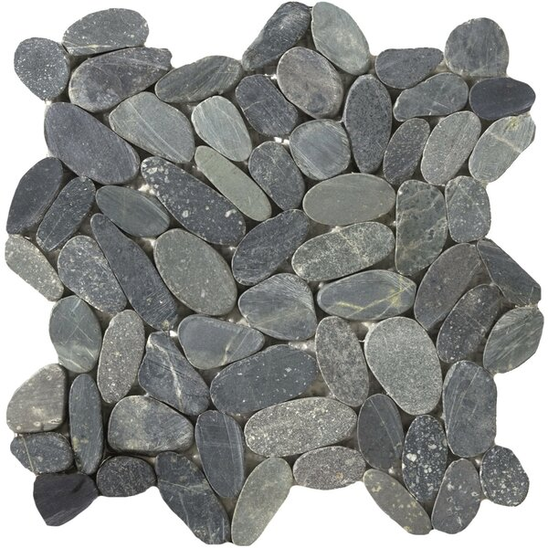 Venetian Flat Natural Stone Pebble Tile in Graphite by Emser Tile