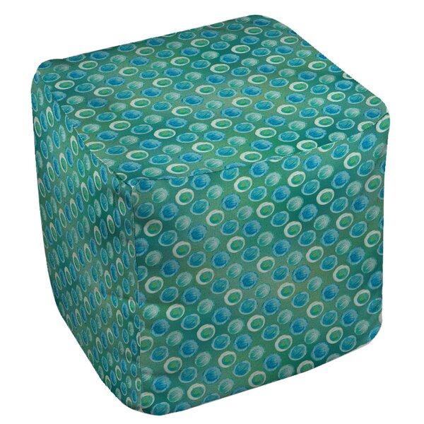 Aqua Bloom Dots Pouf by Manual Woodworkers & Weavers