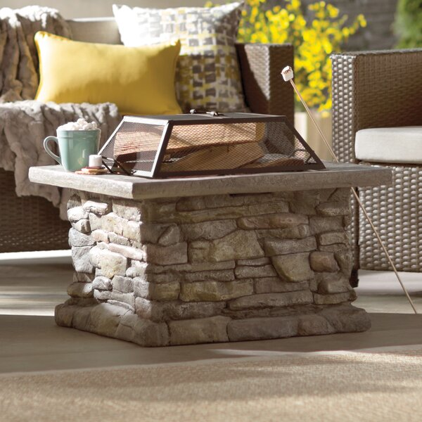 Colton Faux Stone Wood Burning Fire Pit Table by L