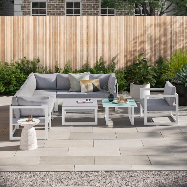 Annemarie Outdoor Patio 9 Piece Sectional Seating Group with Cushions