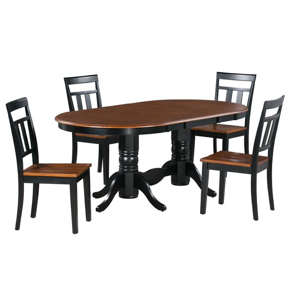 Adonis 5 Piece Extendable Solid Wood Dining Set by Alcott Hill