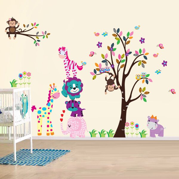 Happy Animals Wall Decal by Zoomie Kids
