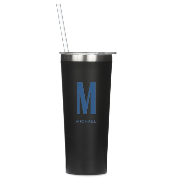Stamp Personalized Custom Monogram 22 oz. Stainless Steel Travel Tumbler by Ebern Designs