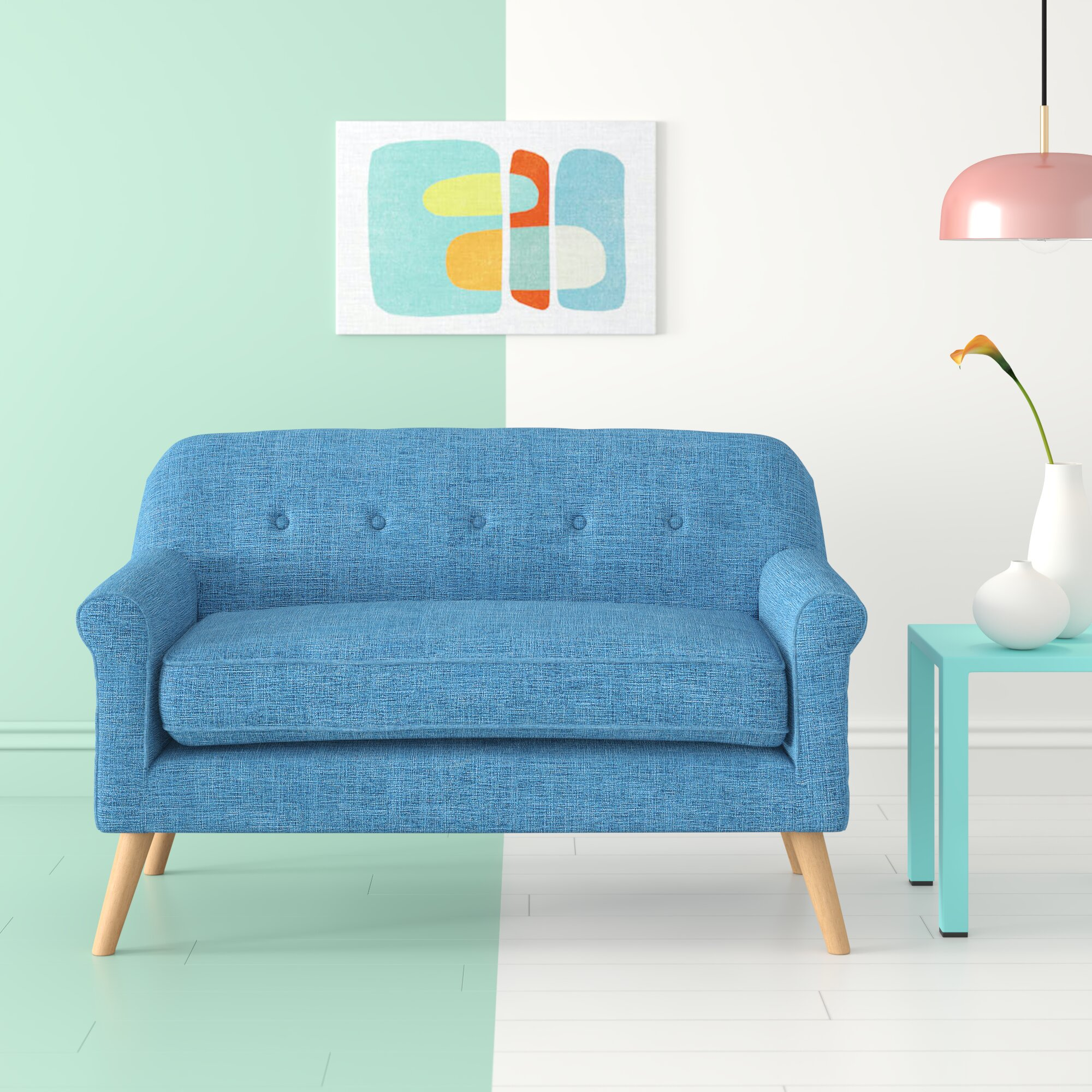 Fine Calvillo Anchill Mid Century Modern Loveseat Squirreltailoven Fun Painted Chair Ideas Images Squirreltailovenorg