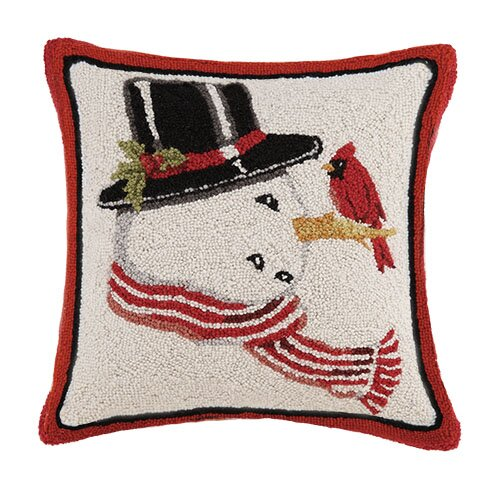 Snowman Hook Wool Throw Pillow by Mary Lake Thompson