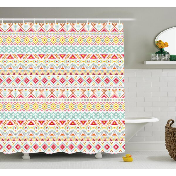 Trista Tribal Aztec Patterns Shower Curtain by Bungalow Rose