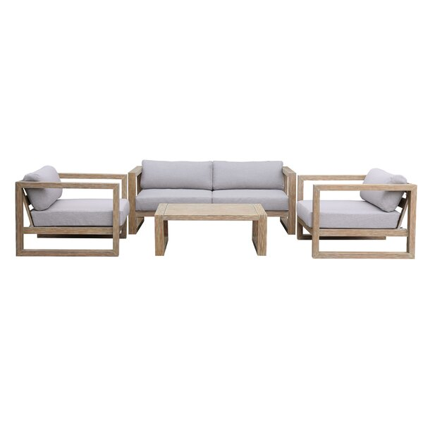 Trudell 4 Piece Sofa Seating Group with Cushions by Foundry Select
