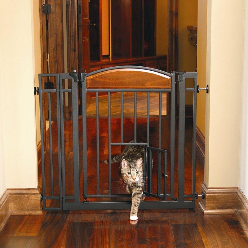 Gayle Design Studio Walk Through Pet Gate with Small Pet Door & Tucker Murphy Pet Gayle Design Studio Walk Through Pet Gate with ...