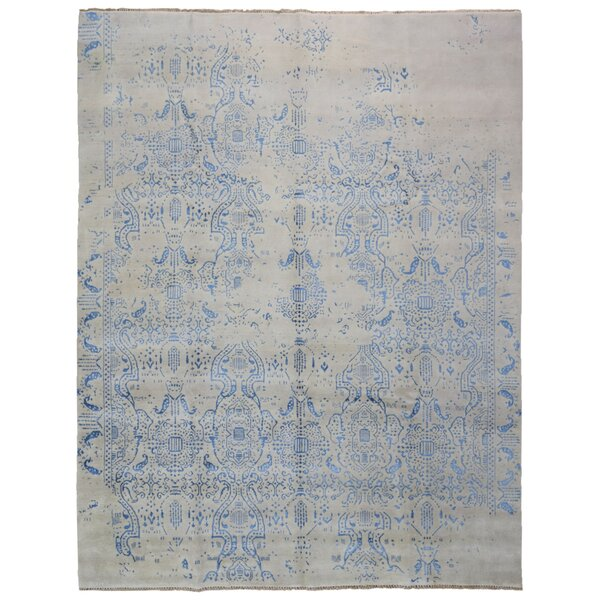 One-of-a-Kind Cowie Hand-Knotted Wool Blue/Beige Area Rug by Isabelline
