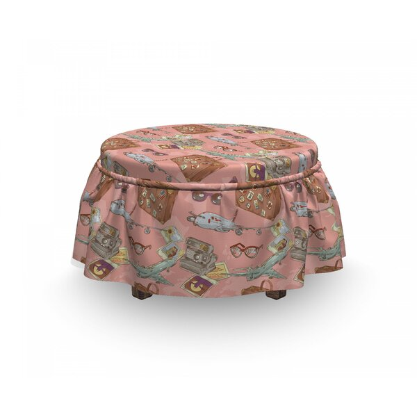 Airplane Bon Voyage Vacation 2 Piece Box Cushion Ottoman Slipcover Set By East Urban Home