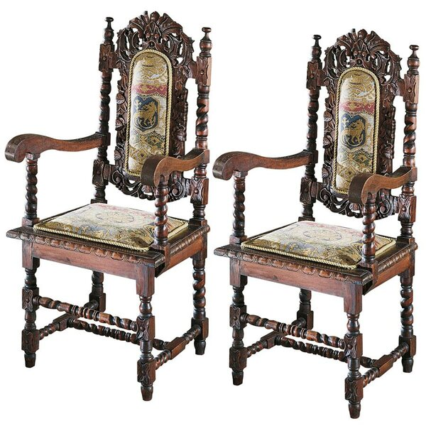 Charles II Upholstered Dining Chair (Set of 2) by Design Toscano Design Toscano