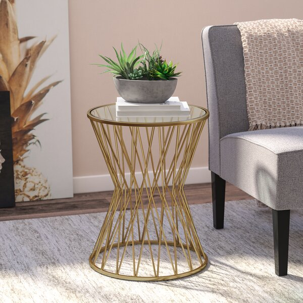 Carpendale Hourglass Metal End Table by Wade Logan