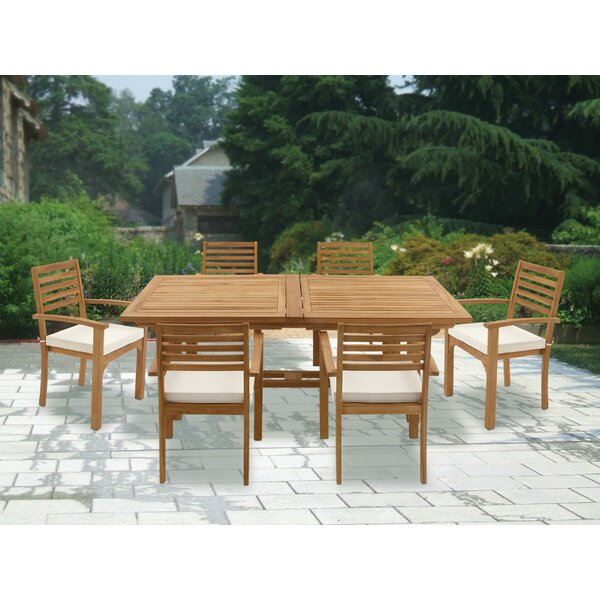 Teak 7 Piece Dining Set with Cushions by Cole & Grey