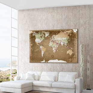 Framed world map wayfair world map with cork back framed graphic art print poster publicscrutiny Choice Image