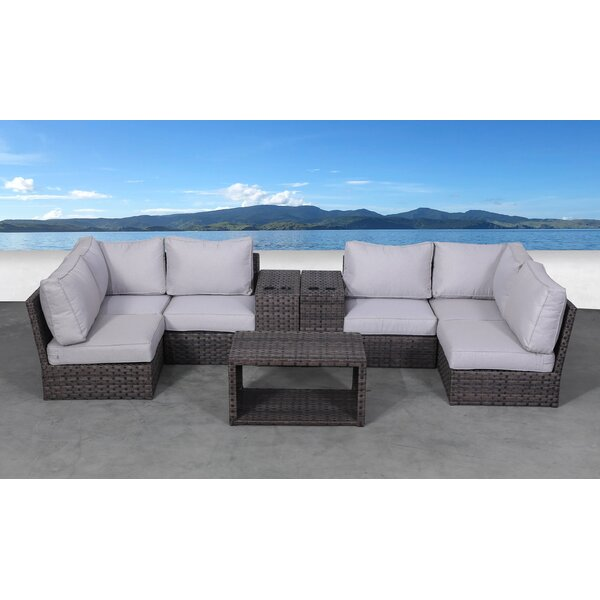Cochran 9 Piece Rattan Sectional Seating Group with Cushions by Rosecliff Heights