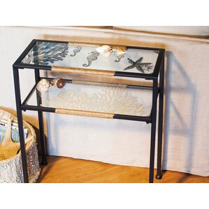 Derrytown Glass and Metal Pen and Ink Sea Shell Console Table by Breakwater Bay