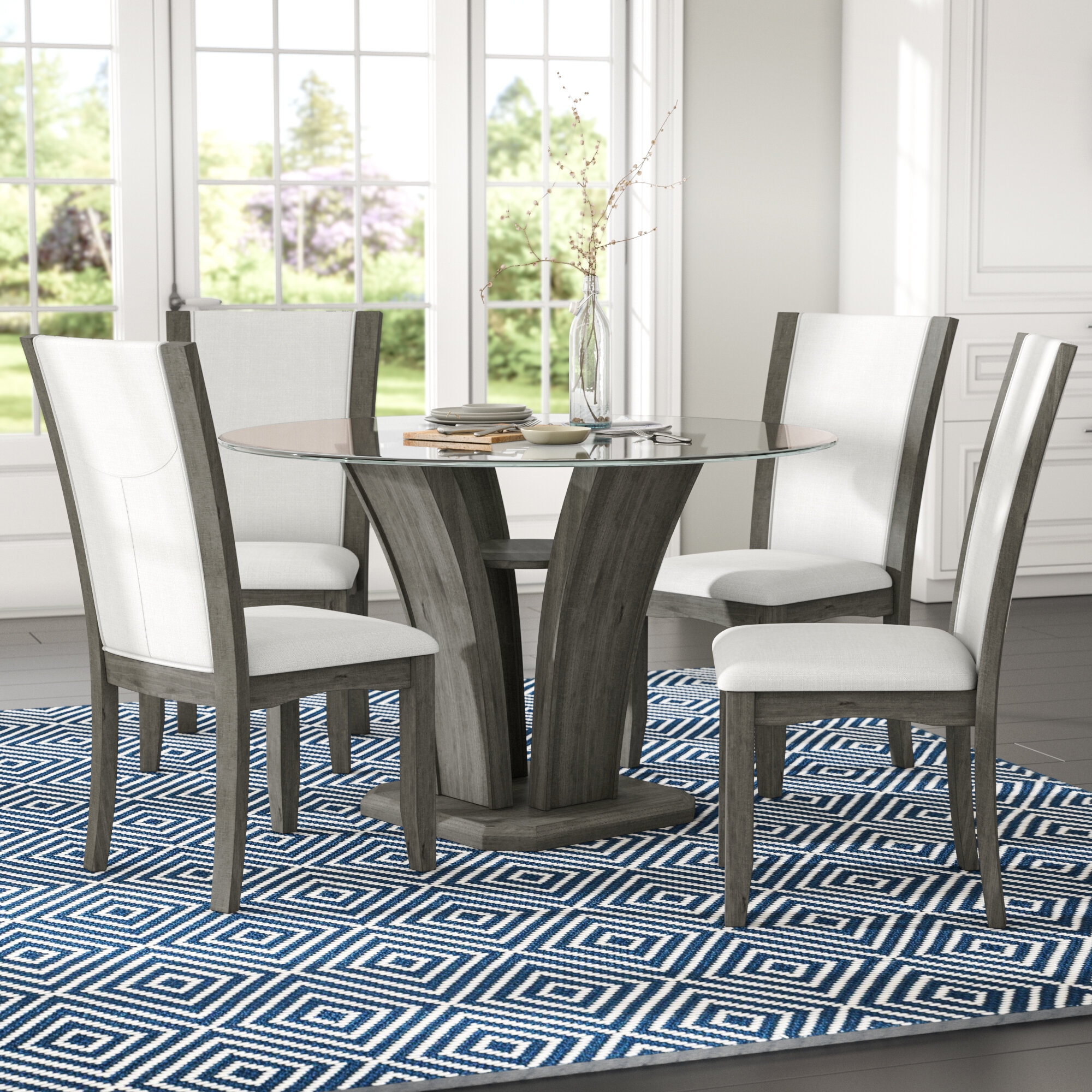 Brayden Studio Kangas 5 Piece Glass Top Dining Set U0026 Reviews | Wayfair