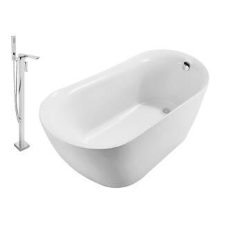Streamlinebath 72 X 31 Soaking Porcelain Enameled Cast Iron Bathtub Wayfair