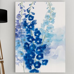 'Delphinium I' by Rogier Daniels Framed Painting Print on Wrapped Canvas by Wexford Home