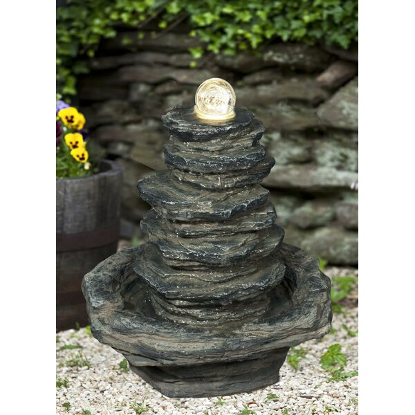 Resin Stacked Slate Rock Fountain with Light by Hi-Line Gift Ltd.