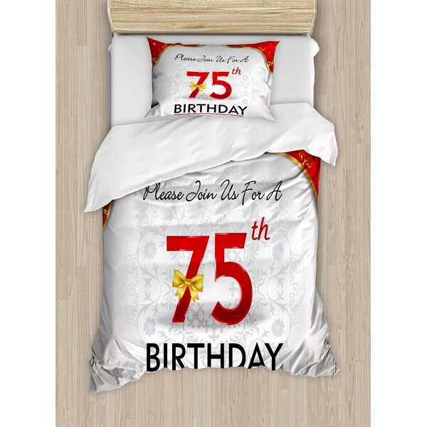 75th Birthday Decorations Royal Display Birthday Party Floral Invitation Ceremony Bow Duvet Set by Ambesonne