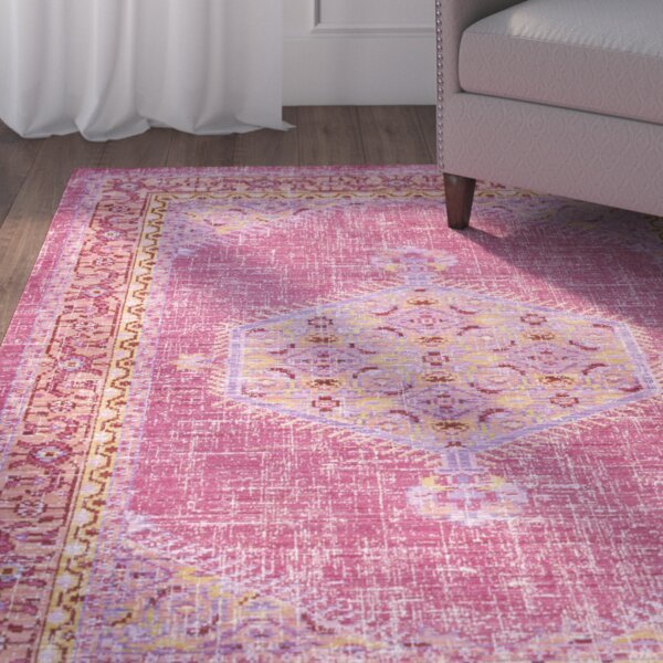 Fields Bright Pink/Bright Orange Area Rug by Mistana