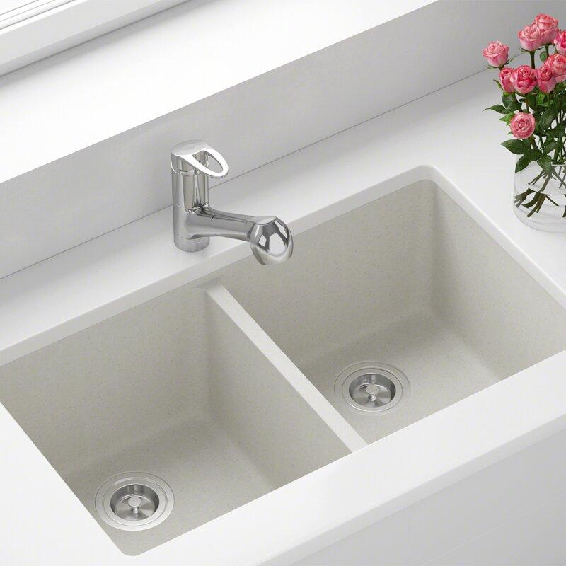 Mrdirect Granite Composite 32 X 19 Double Basin Undermount Kitchen Sink Reviews Wayfair