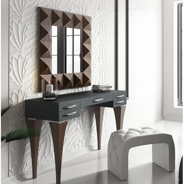 Fallinerlea Bedroom Makeup Solid Wood Vanity Set with Mirror by Brayden Studio