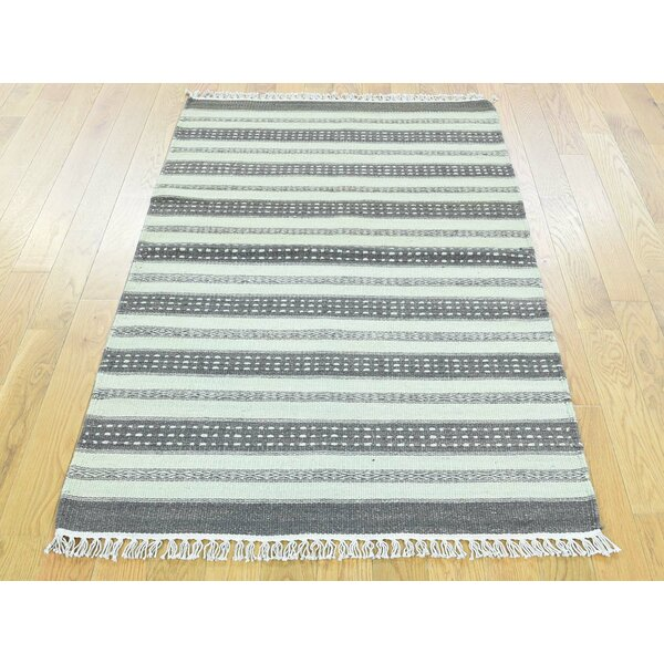 One-of-a-Kind Beeching Striped Handmade Kilim Wool Area Rug by Isabelline