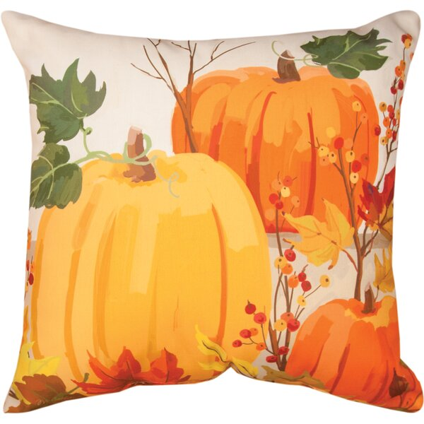 Fall Pumpkins Knife Edge Throw Pillow by Manual Woodworkers & Weavers