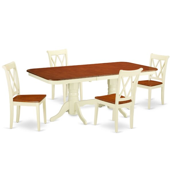 Krehbiel 5 Piece Extendable Solid Wood Dining Set by August Grove August Grove