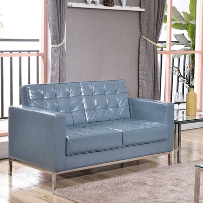 Grey Leather Loveseats You Ll Love Wayfair