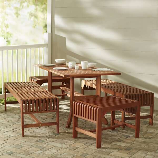 Amabel Traditional 5 Piece Rectangular Dining Set by Beachcrest Home