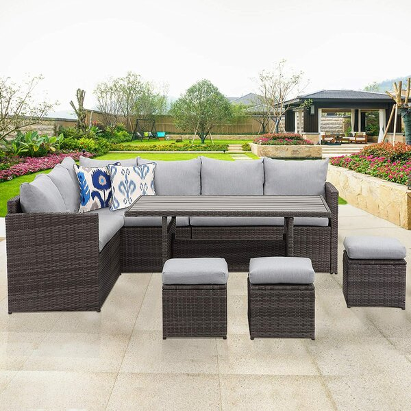 Adriyanna Patio 7 Piece Rattan Sectional Seating Group with Cushions by Latitude Run