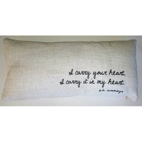 I Carry You Linen Lumbar Pillow by French Laundry Home