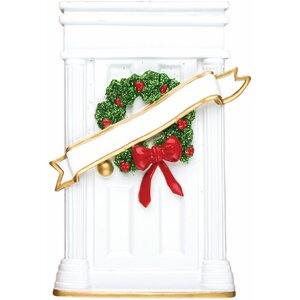 Home Door Shaped Ornament with Wreath