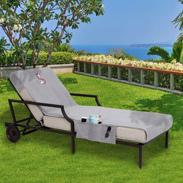 Anchor Embroidered Standard Patio Chaise Lounge Cover with Side Pockets by Breakwater Bay