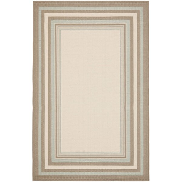Short Beige / Blue Indoor/Outdoor Rug by Winston Porter