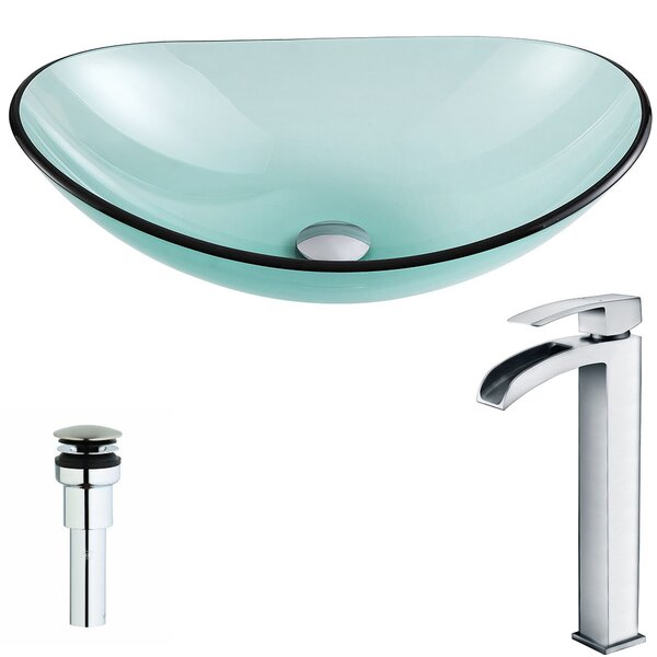 Major Glass Oval Vessel Bathroom Sink with Faucet