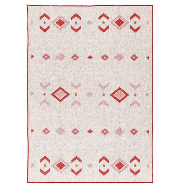 Tseng Reversible Cream/Red Indoor/Outdoor Area Rug by Millwood Pines